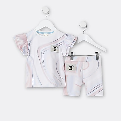 Mini girls pink marble print t-shirt outfit