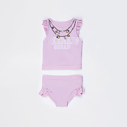 Mini girls pink 'Mermaid squad' tankini set