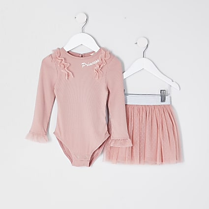 Mini Girls Pink Mesh Top and Skirt Tutu Set