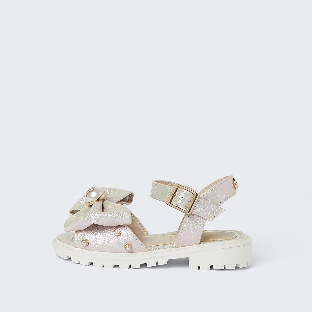 Mini girls pink metallic bow front sandal