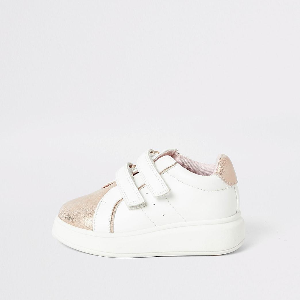 Mini girls pink metallic wedge sole trainers