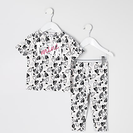 Mini girls pink 'Mini diva' printed pyjamas