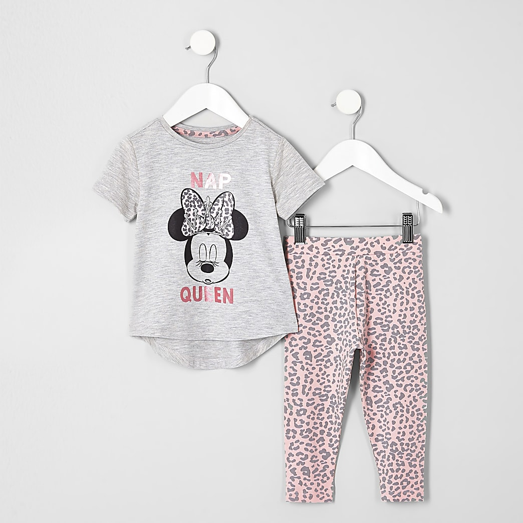 9-10 years Older Girls Minnie Mouse Pyjamas Grey Pink 4-5 years