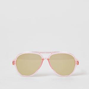 Lunettes de soleil aviateur à effet miroir roses Mini fille