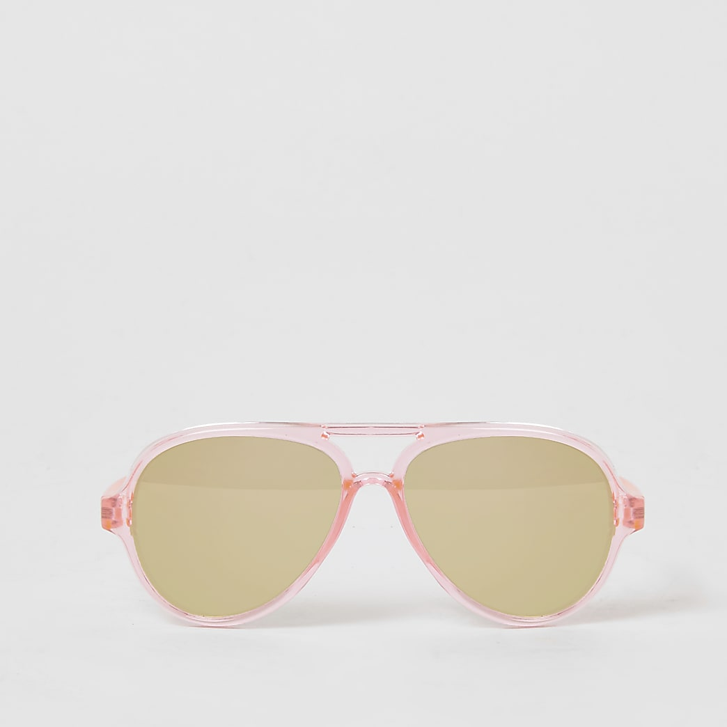 Mini girls pink mirrored aviator sunglasses