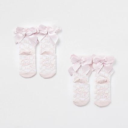 Mini girls pink monogram bow socks 2 pack