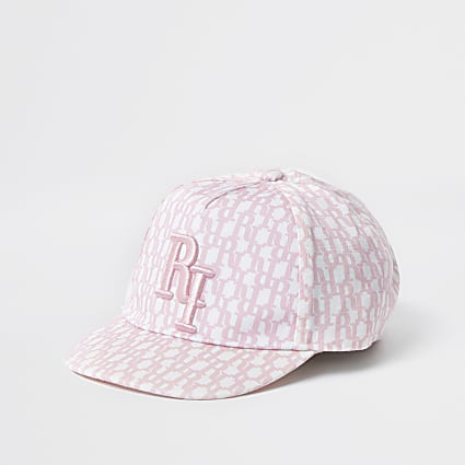 Mini Girls pink monogram embroidered cap