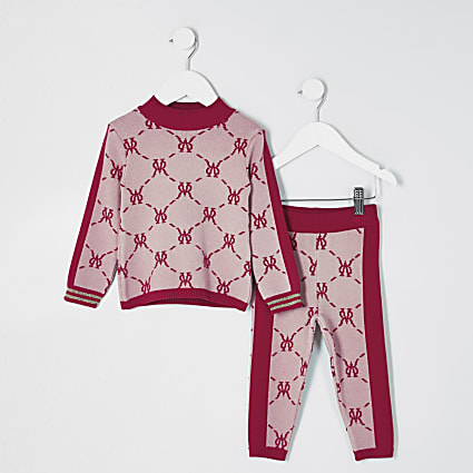 Mini girls pink monogram legging outfit