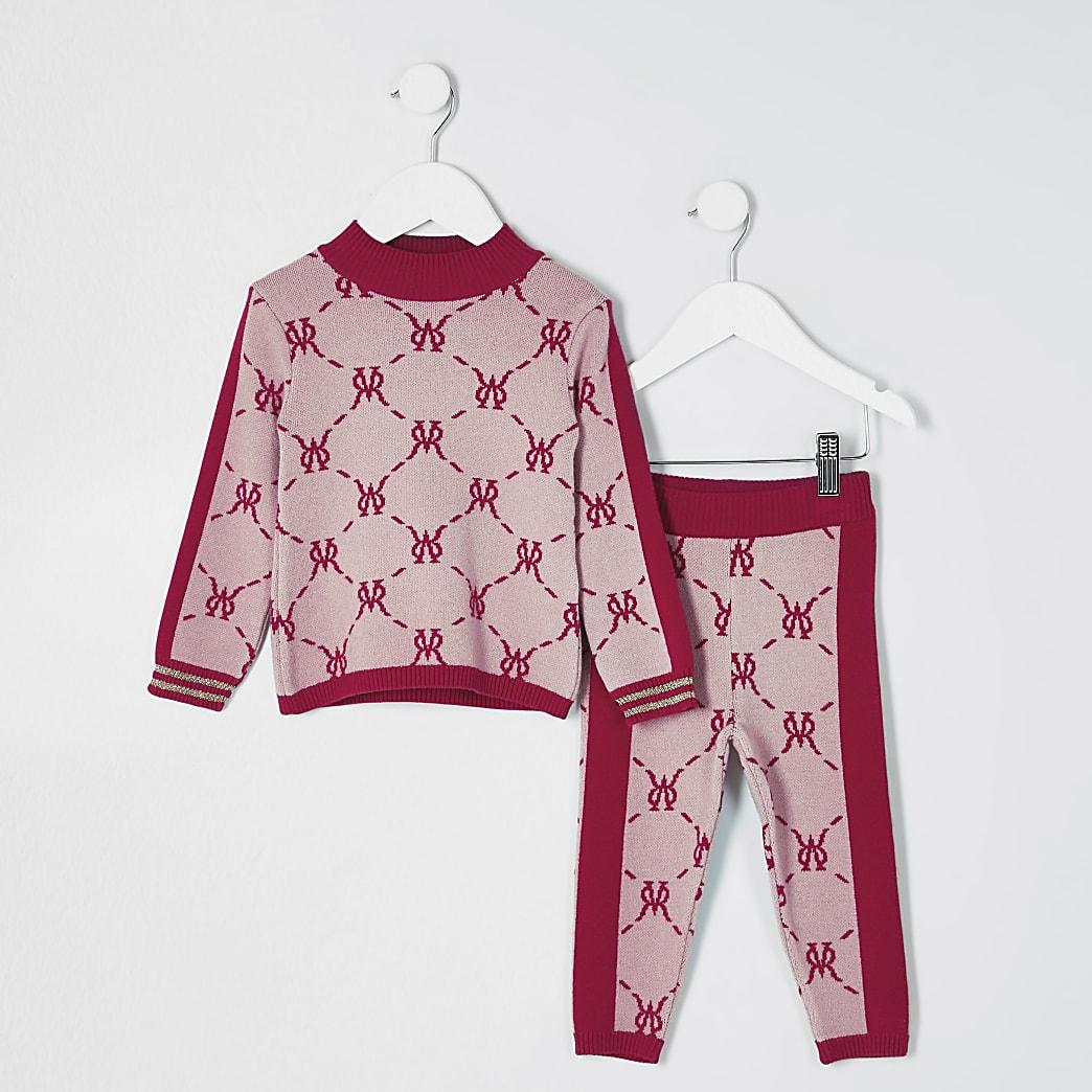 Mini girls pink monogram legging outfit