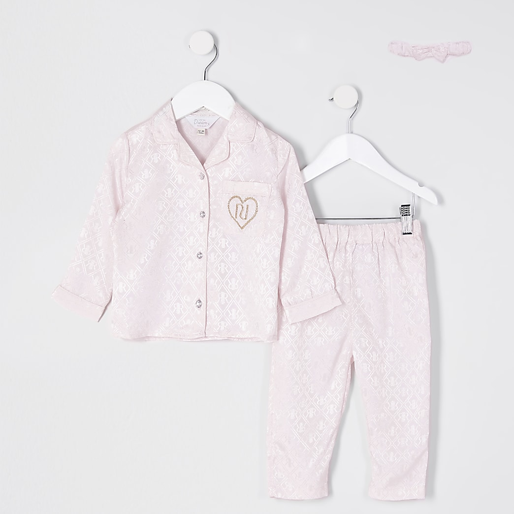 Mini girls pink monogram pyjamas set