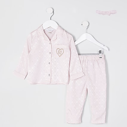 Mini girls pink monogram pyjamas