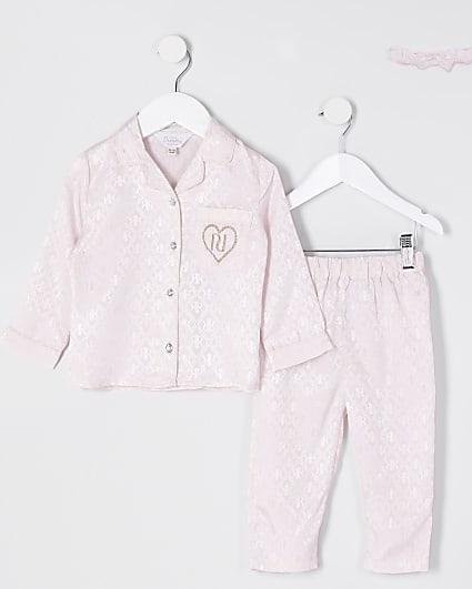 Mini girls pink monogram pyjamas