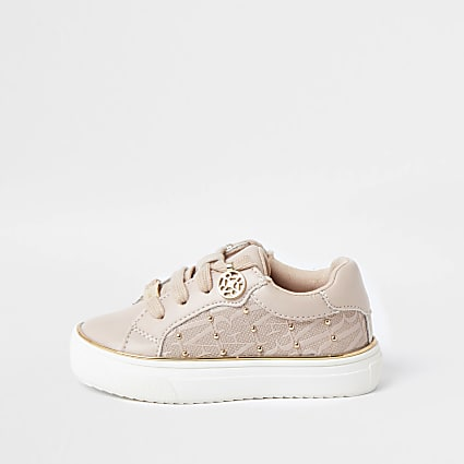 Mini girls pink monogram studded trainers