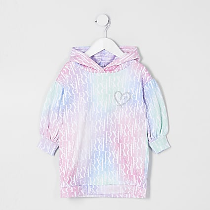 Mini girls pink monogram sweat dress