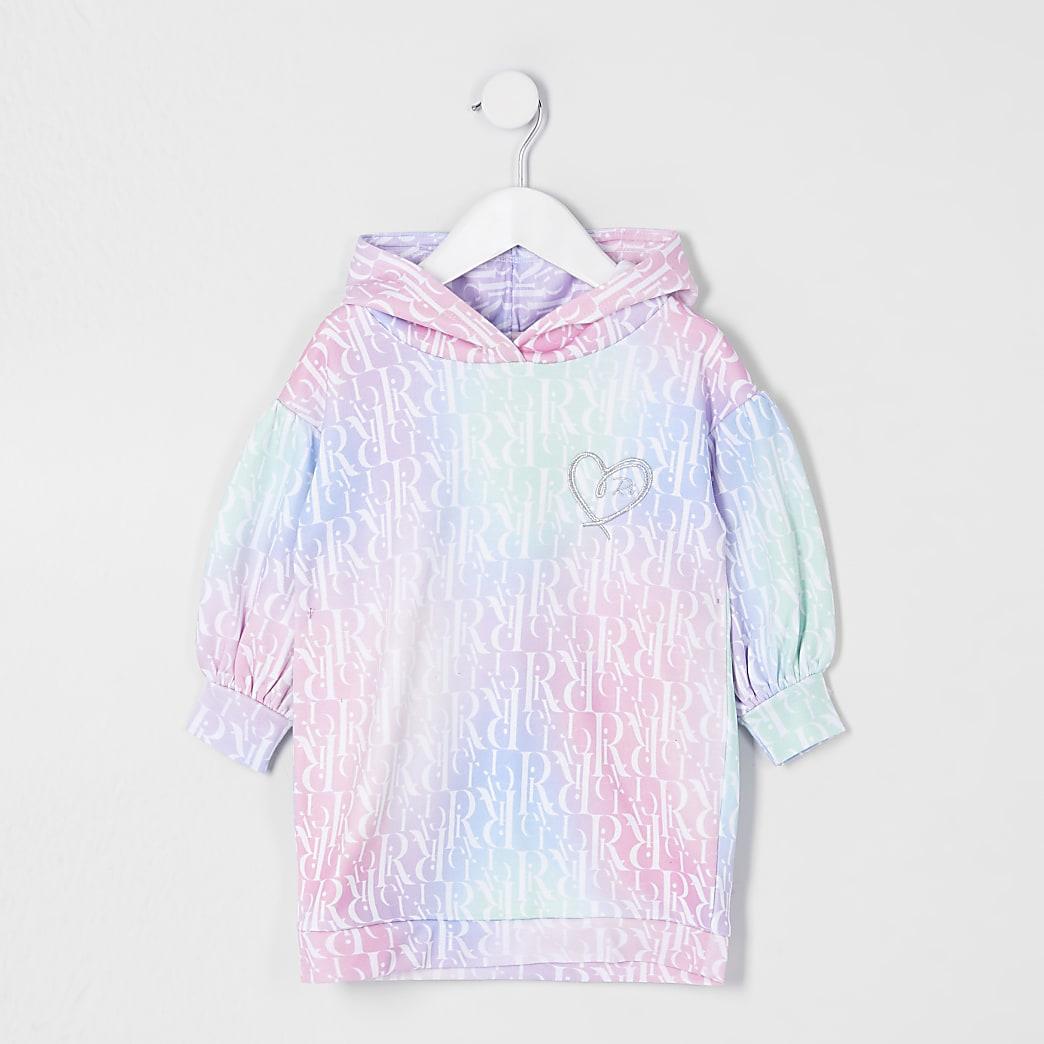 Mini girls pink monogram sweat dress
