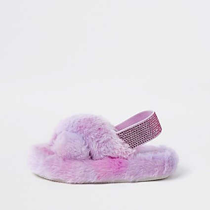 Mini girls pink ombre faux fur slippers