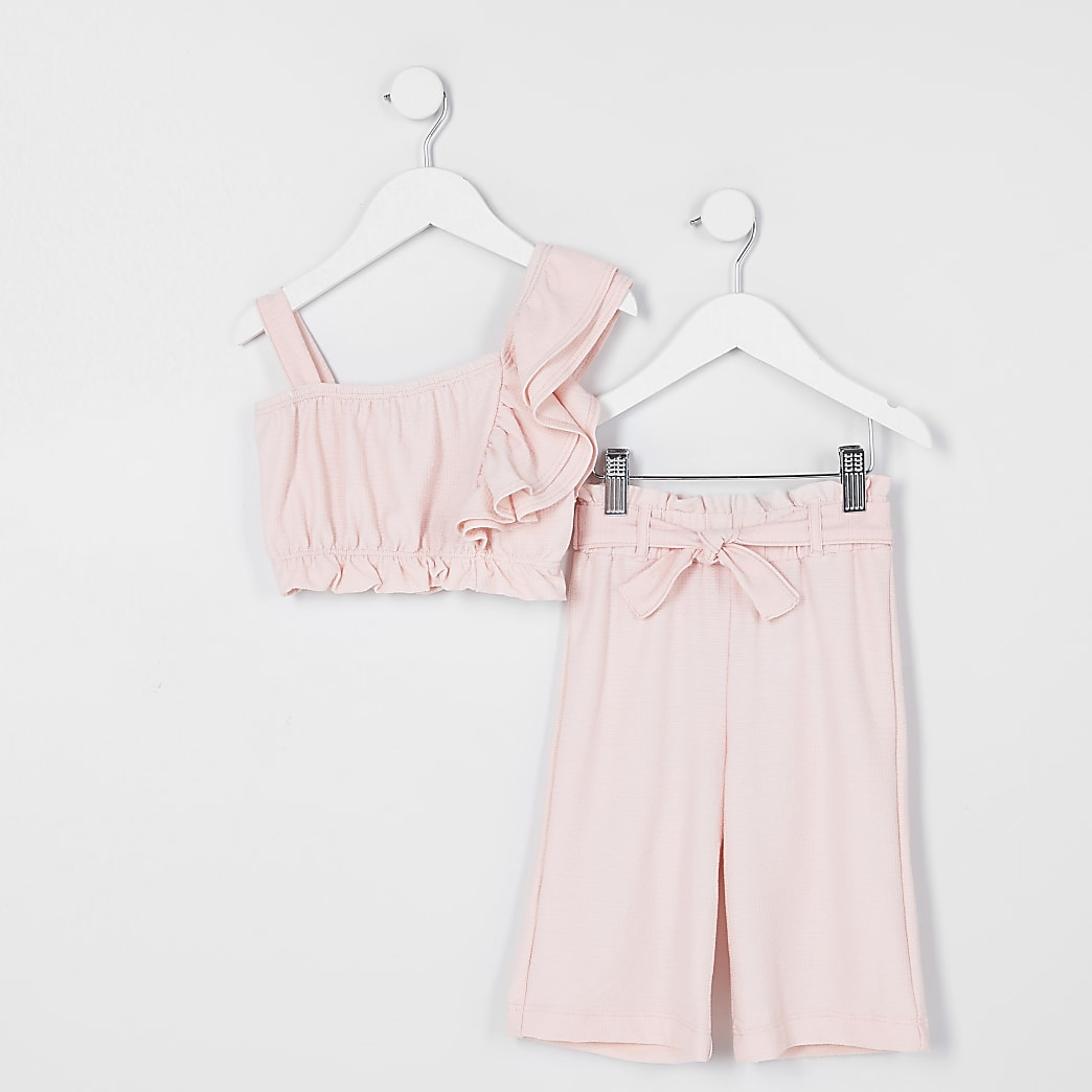 Mini girls pink one shoulder outfit