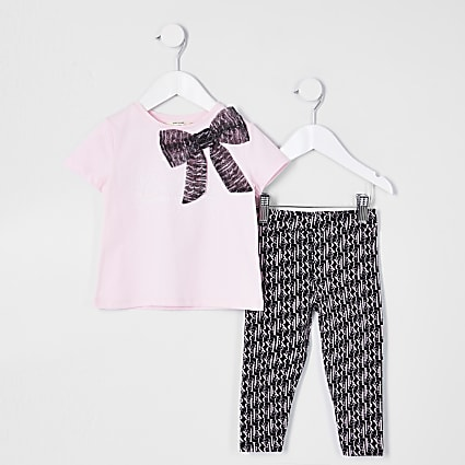 Mini girls pink organza bow outfit