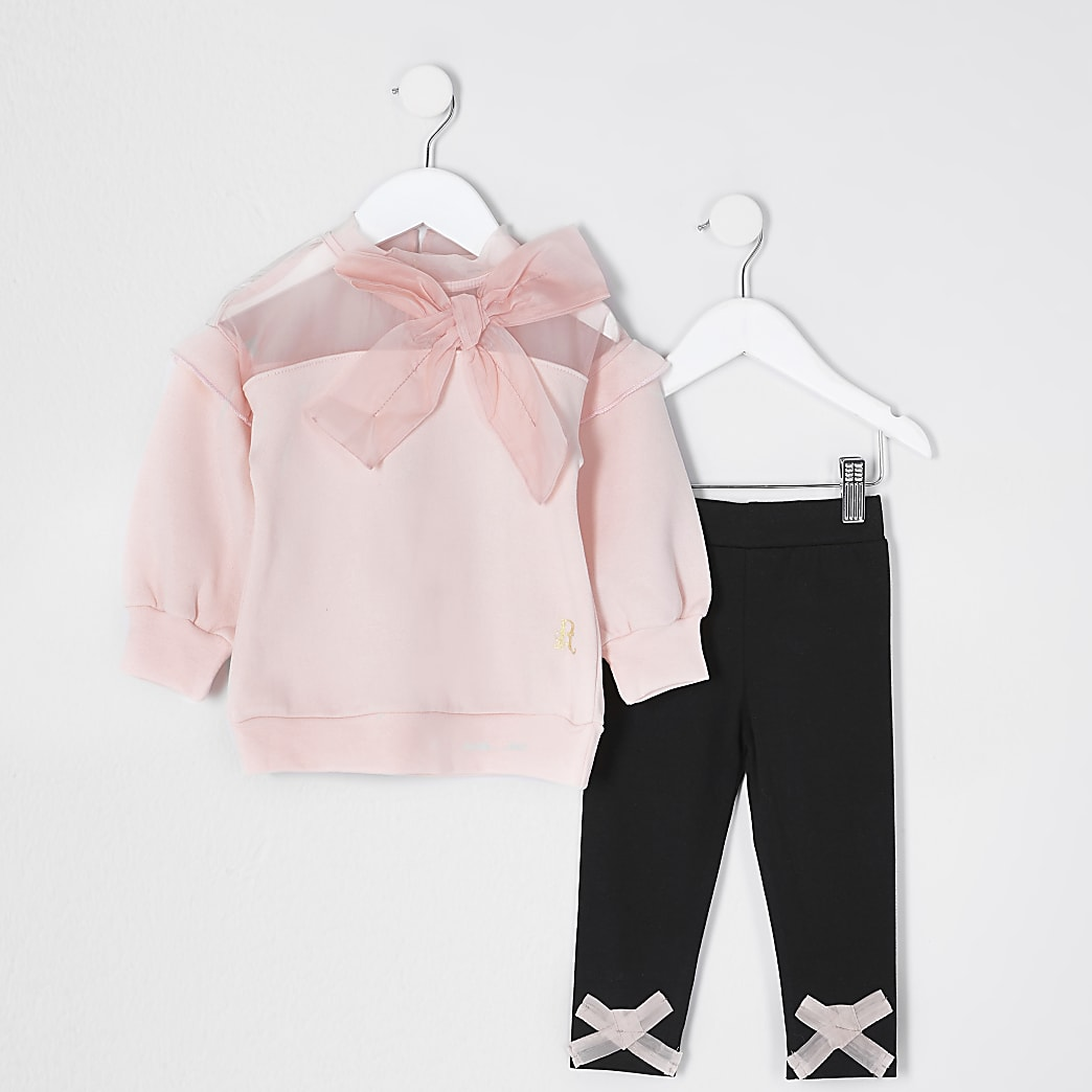 Mini girls pink organza bow sweat outfit