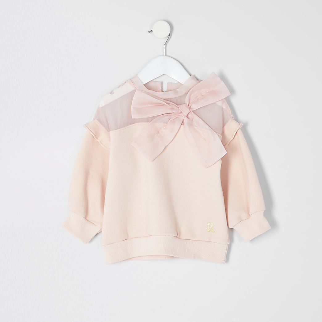 Mini girls pink organza bow sweatshirt