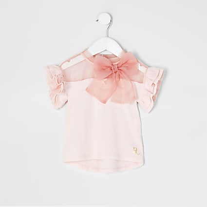 Mini Girls pink organza bow t-shirt