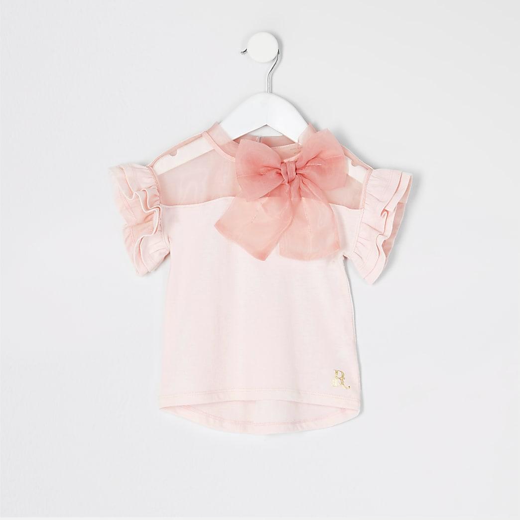 Mini Girls pink organza bow t-shirt