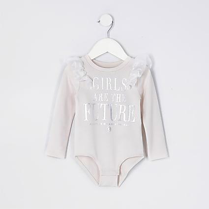 Mini girls pink organza frill bodysuit
