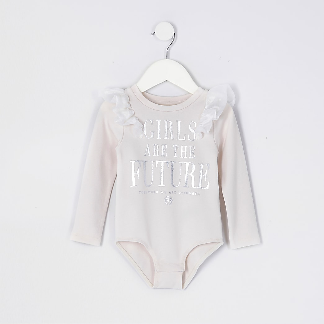 Mini girls pink organza frill bodysuit