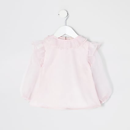 Mini girls pink organza frill long sleeve top