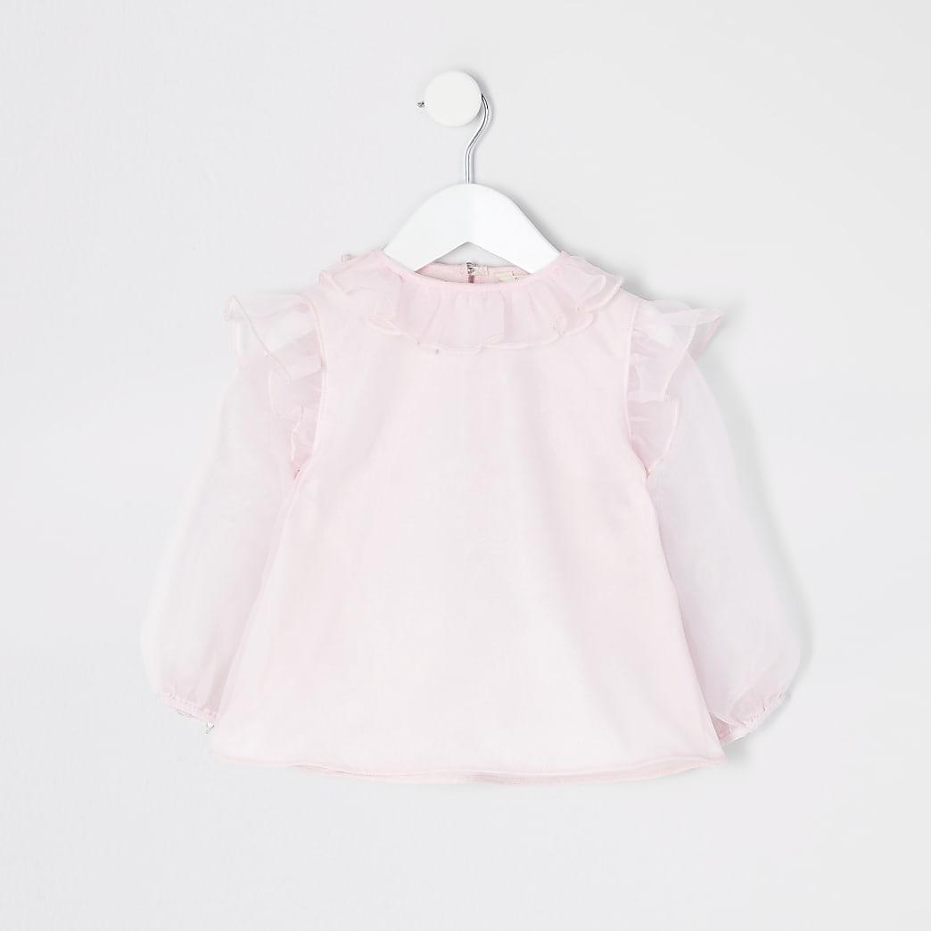Mini girls pink organza frill long sleeve top