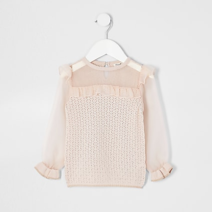 Mini girls pink organza jumper