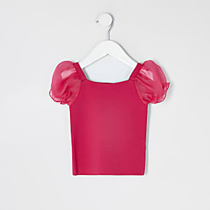 Mini girls pink organza puff sleeve knit top