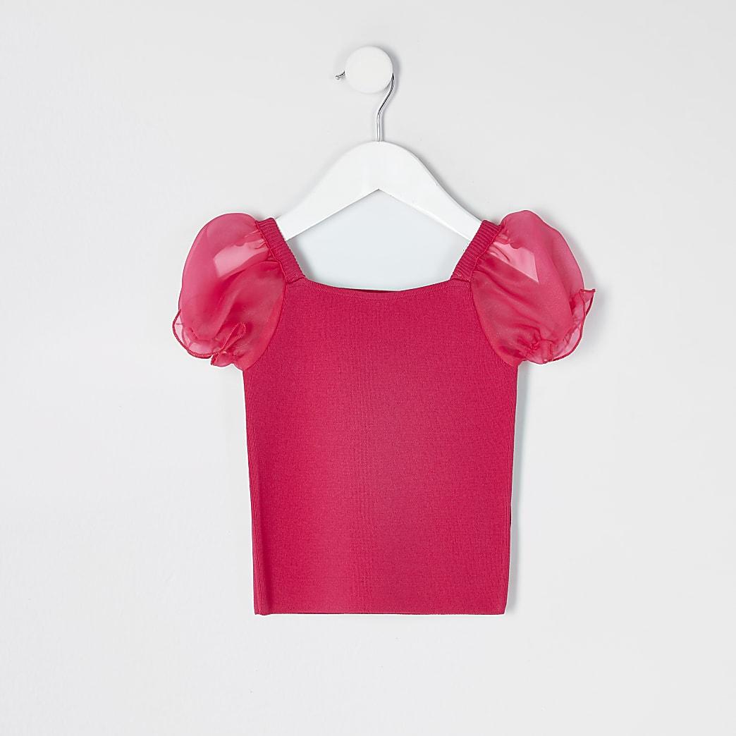 Mini girls pink organza puff sleeve knit top