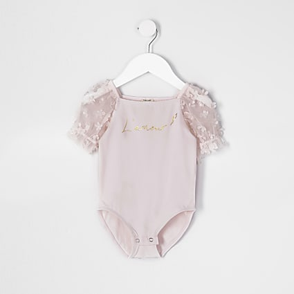 Mini girls pink organza sleeve bodysuit