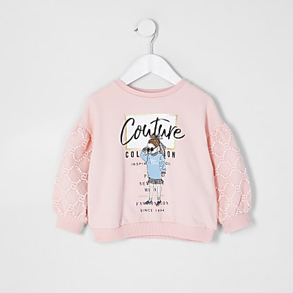 Mini girls pink organza sleeve sweatshirt