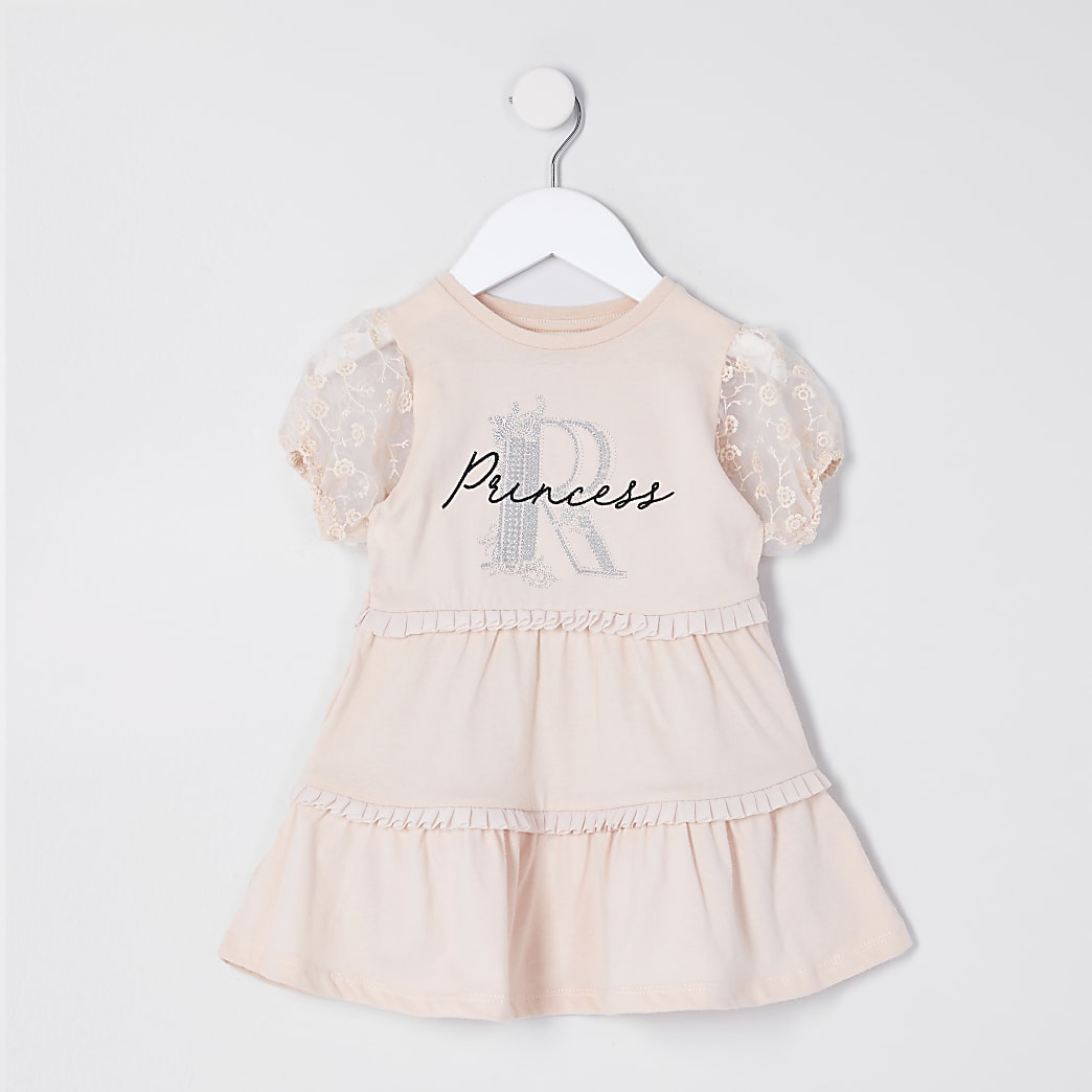 Mini girls pink organza sleeve T-shirt dress