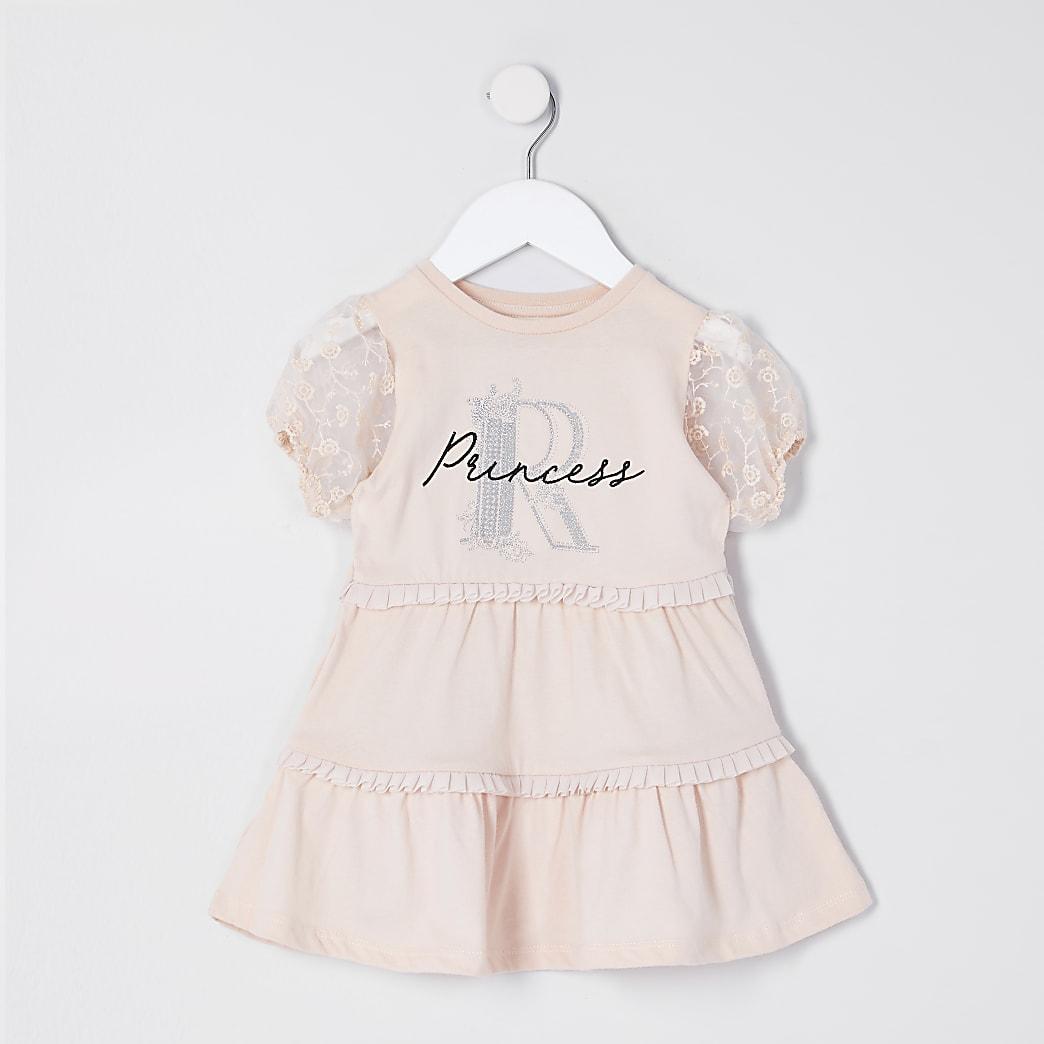 Mini girls pink organza sleeve T-shirt dress