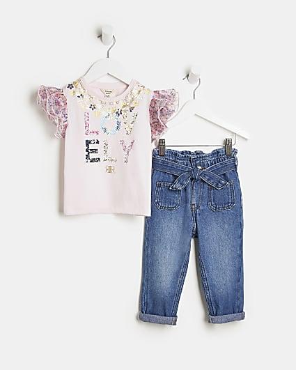 Mini girls pink organza t-shirt and jeans set