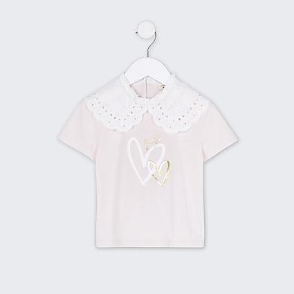Mini girls pink oversized collar t-shirt
