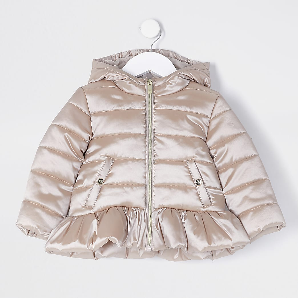 Mini girls pink padded peplum jacket