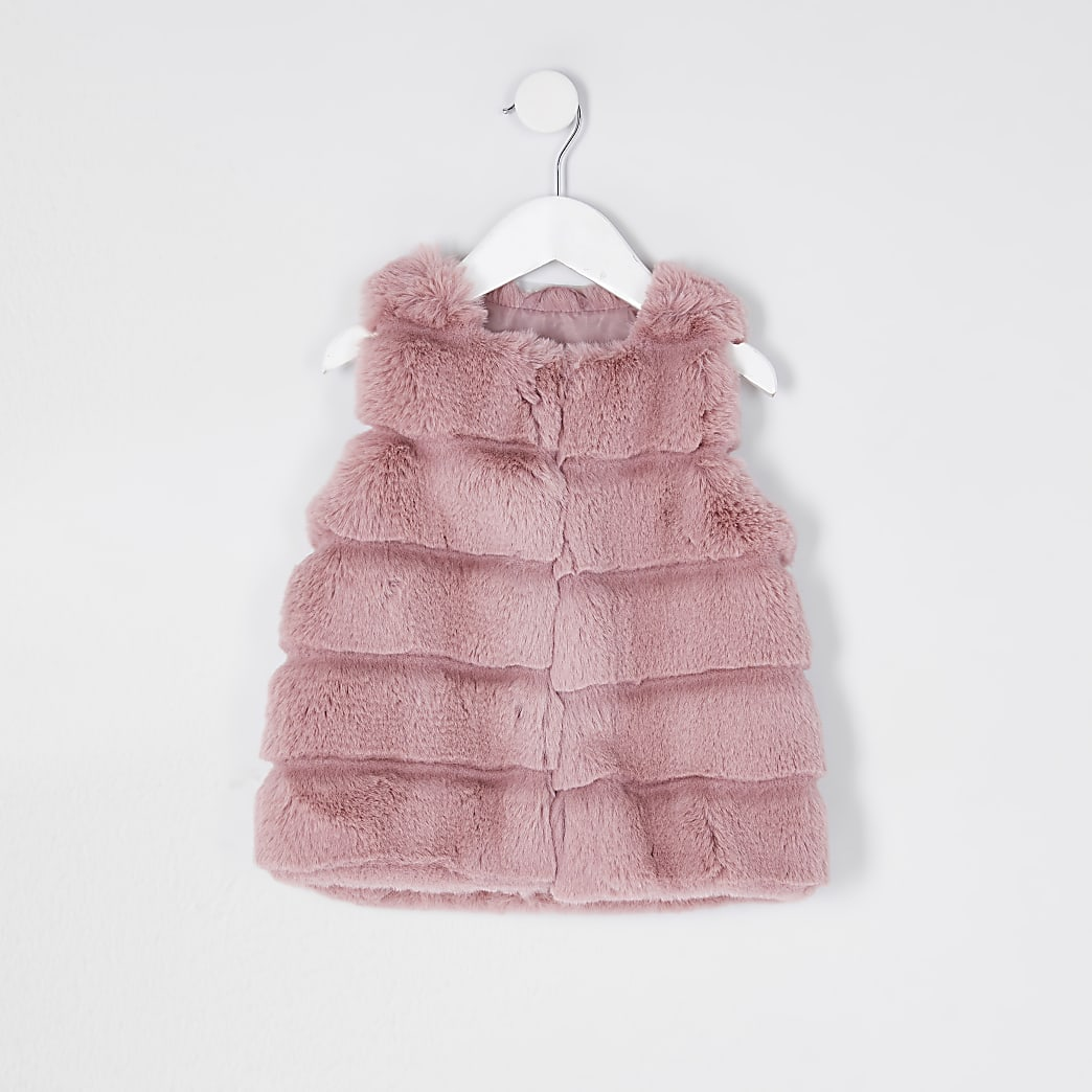 Mini girls pink panelled faux fur gilet