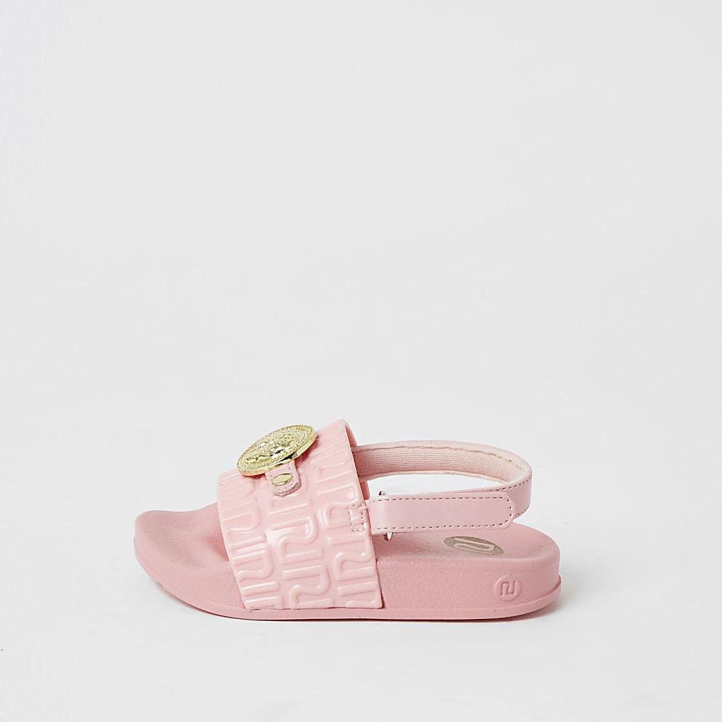 Mini - Roze slippers met panterhoofd-embleem voor meisjes