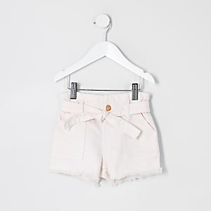 Mini - Roze denim short met ingesnoerde taille voor meisjes