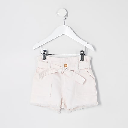 Mini girls pink paperbag denim shorts