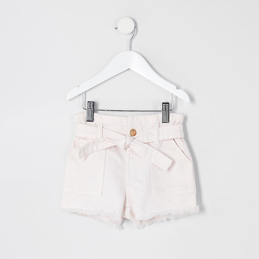 Mini girls pink paperbag denim shorts
