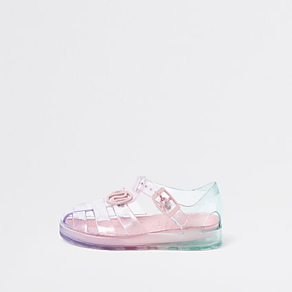 Mini girls pink pastel rainbow jelly sandals
