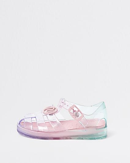 Mini girls pink pastel rainbow jelly sandals