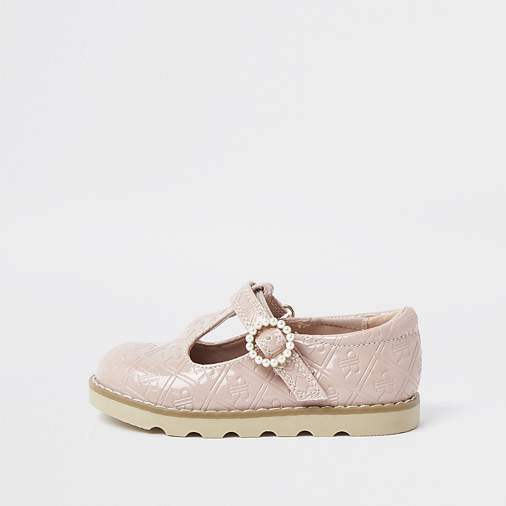 Mini girls pink patent RI monogram shoe