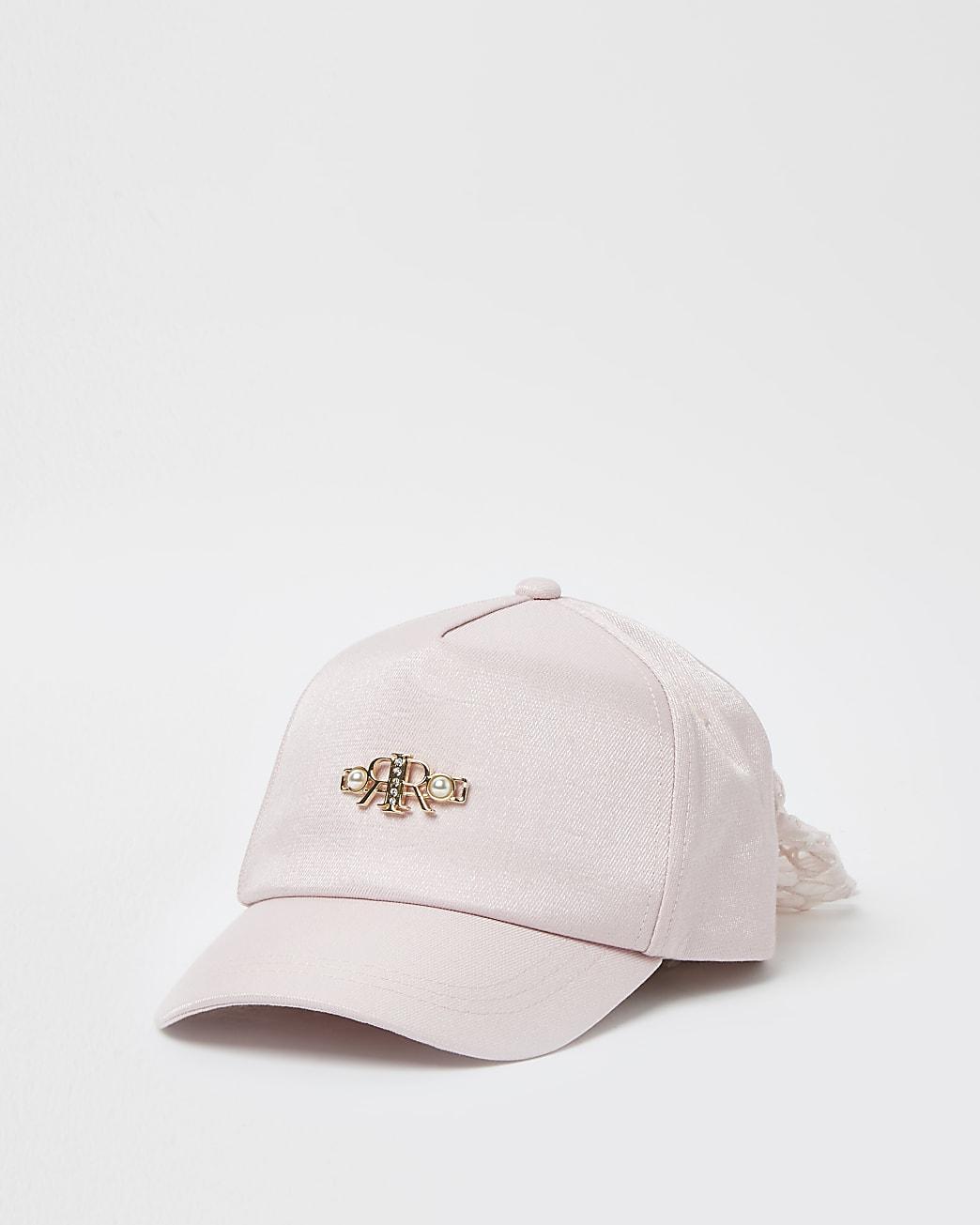 Mini girls pink pearl mesh bow back cap