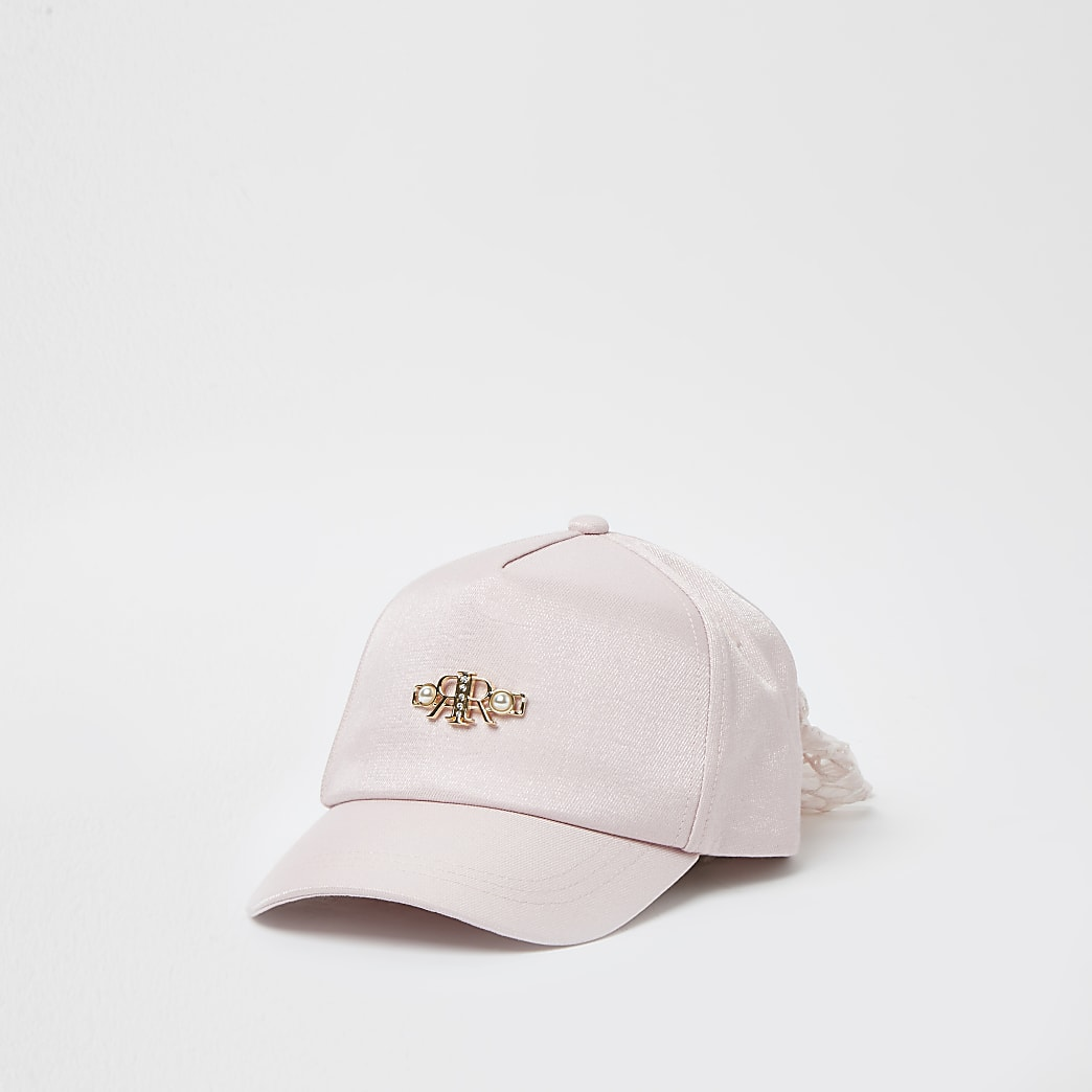 Mini girls pink pearl mesh bow back cap